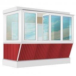 Остекление балкона ПВХ Exprof с выносом и отделкой вагонкой без утепления 3.2 м Г-образное
