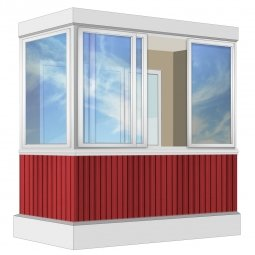 Остекление балкона Алюминиевое Provedal с отделкой ПВХ-панелями без утепления 2.4 м Г-образное