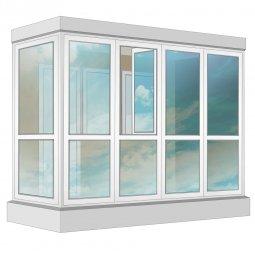 Остекление балкона ПВХ Exprof в пол с отделкой вагонкой с утеплением 3.2 м Г-образное