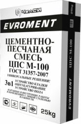 Смесь песчано-цементная ЧелСи EVROMENT М-100 25 кг с ПМД