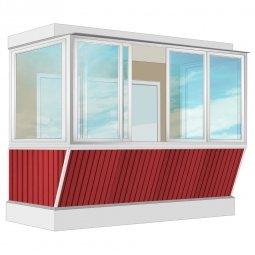 Остекление балкона Алюминиевое Provedal с выносом и отделкой ПВХ-панелями без утепления 3.2 м П-образное