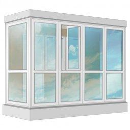 Остекление балкона ПВХ Exprof в пол с отделкой ПВХ-панелями с утеплением 3.2 м П-образное