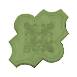 Плитка тротуарная Клевер узорный Вибролитая 267х218х55 Зеленая