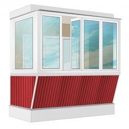 Остекление балкона ПВХ Exprof с выносом и отделкой ПВХ-панелями без утепления 2.4 м Г-образное