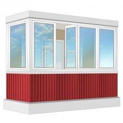 Остекление балкона ПВХ Exprof с отделкой вагонкой с утеплением 3.2 м П-образное